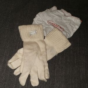 COACH Knit Gloves Ivory Off White with Sparkles